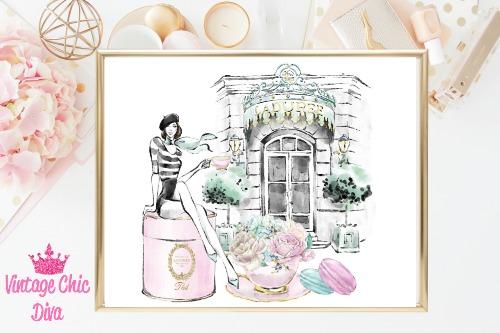Laduree Paris Store Set Girl White Background-
