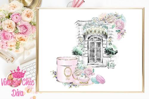 Laduree Paris Store Set White Background-