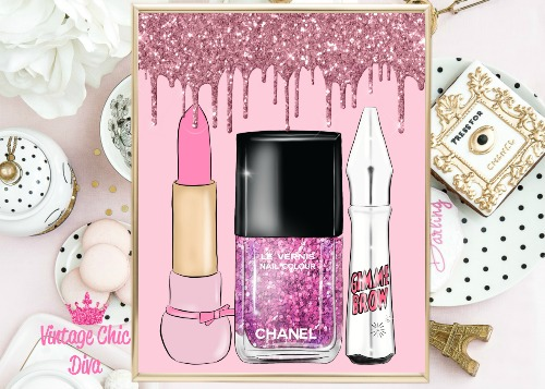 Lips Nails Brows Pink Drip Pink Background-