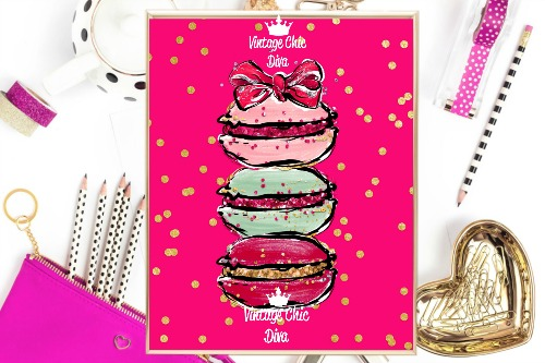 Macaron Set Bow Bright Pink Gold Dots Background-