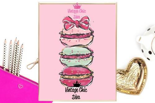 Macaron Set Bow Pink Background-