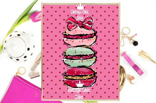 Macaron Set Bow Pink Red Dots Background-