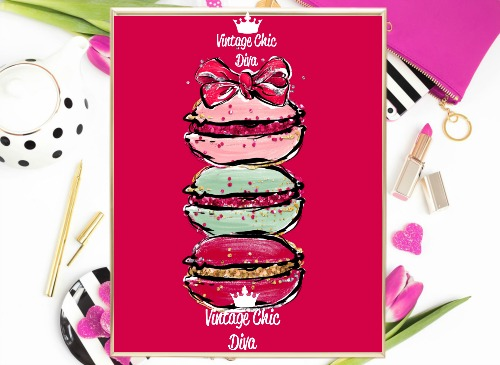 Macaron Set Bow Red Background-