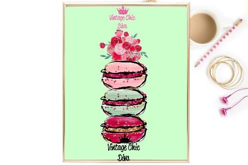 Macaron Set Floral Green Background-