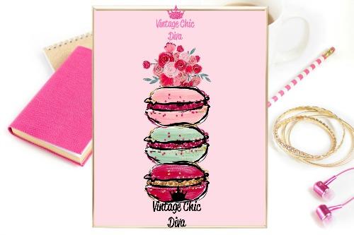 Macaron Set Floral Pink Background-