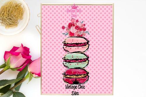 Macaron Set Floral Pink Dots Background-