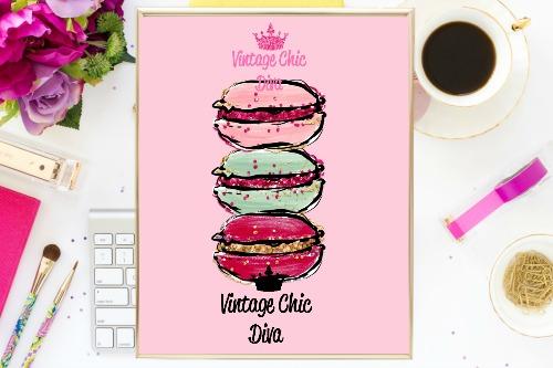 Macaron Set Pink Background-