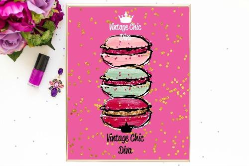 Macaron Set Pink Gold Dots Background-