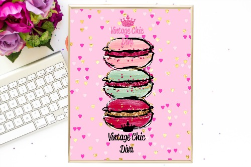 Macaron Set Pink Gold Hearts Background-