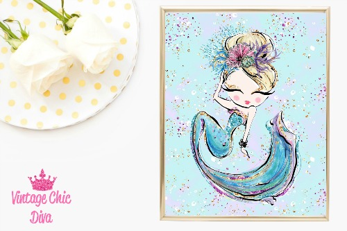 Mermaid Blue Rainbow Glitter Background-