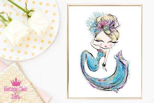Mermaid Blue White Background-