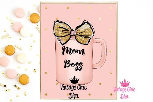 Mom Boss Mug Peach Pink Gold Dots Background-