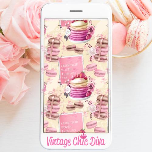 Pink Breakfast Set4 Phone Wallpaper-