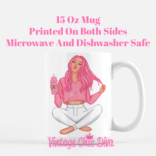 Pink Cat Girl2 Coffee Mug-