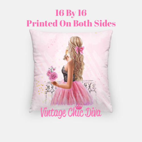 Pink Champagne Girl4 Pillow Case-