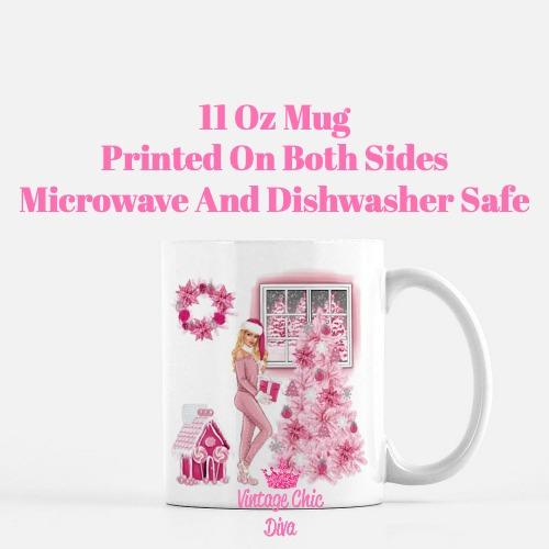 Pink Christmas Girl11 Coffee Mug-