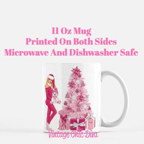 Pink Christmas Girl23 Coffee Mug-