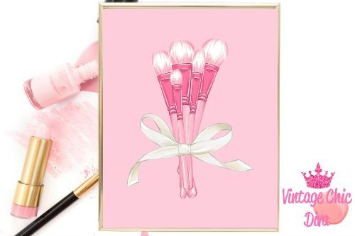 Pink Makeup Brush Set Pink Background-