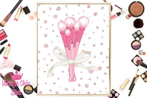 Pink Makeup Brush Set Pink Diamond Background-