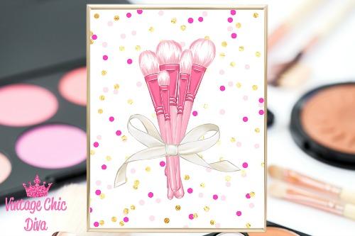 Pink Makeup Brush Set Pink Gold Confetti Background-