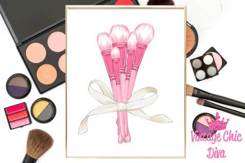 Pink Makeup Brush Set White Background-