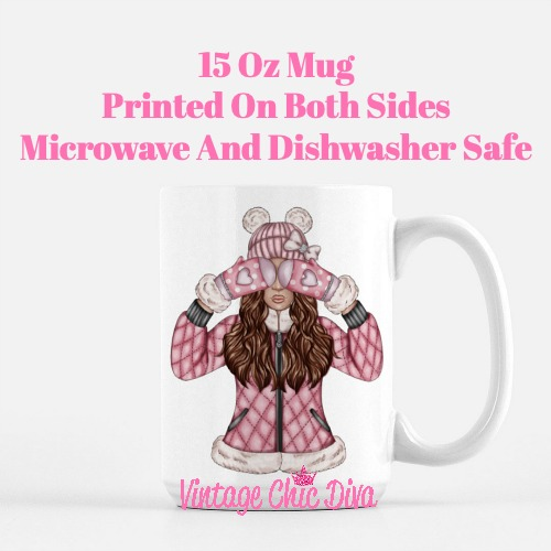 Pink Snow Girl1 Coffee Mug-