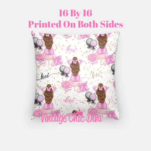 Pink Sweet Fashion Girl1 Pillow Case-