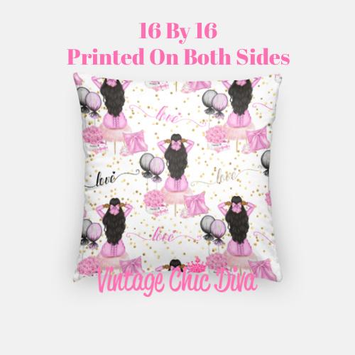 Pink Sweet Fashion Girl2 Pillow Case-