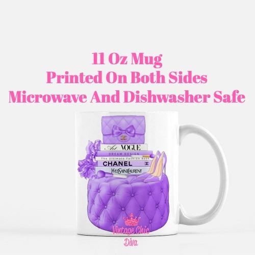 Purple Chanel Handbag Stool Set2 Coffee Mug-
