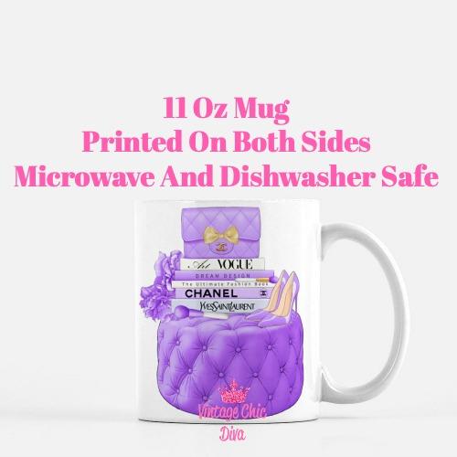 Purple Chanel Handbag Stool Set3 Coffee Mug-