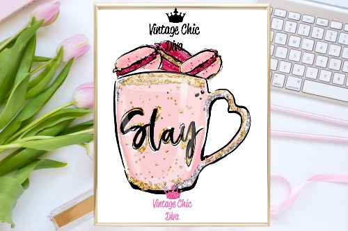 Slay Mug Pink Macaron White Background-