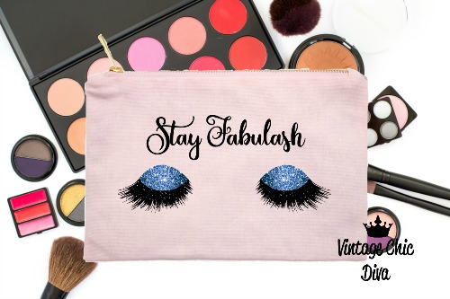 Stay Fabulash Blue Makeup Bag Pink-