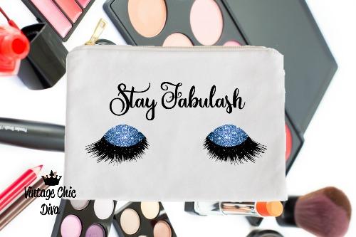 Stay Fabulash Blue Makeup Bag White-