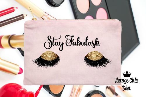 Stay Fabulash Gold Makeup Bag Pink-