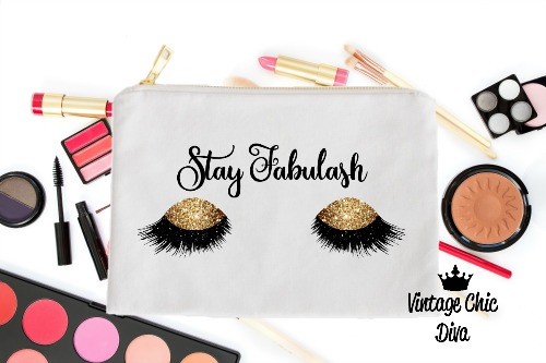 Stay Fabulash Gold Makeup Bag White-