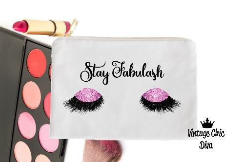 Stay Fabulash Pink Makeup Bag White-