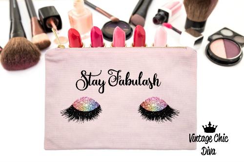 Stay Fabulash Rainbow Makeup Bag Pink-