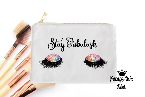 Stay Fabulash Rainbow Makeup Bag White-