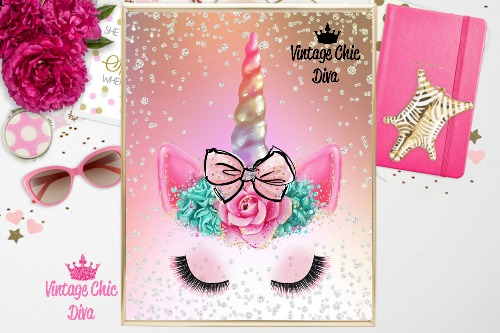 Unicorn Face Bow80 Pastel Diamonds Background-