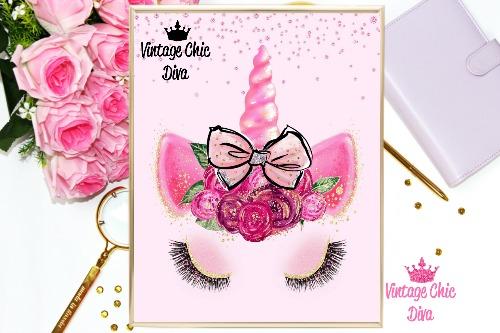 Unicorn Face Bow81 Pink Diamonds Background-
