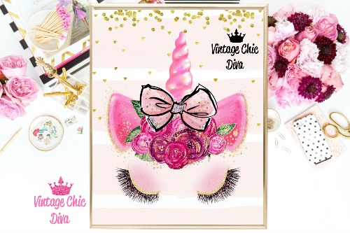 Unicorn Face Bow81 Pink Gold Dots Background-