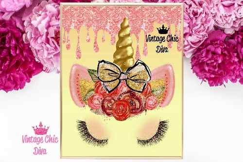 Unicorn Face Bow82 Gold Pink Glitter Drip Background-