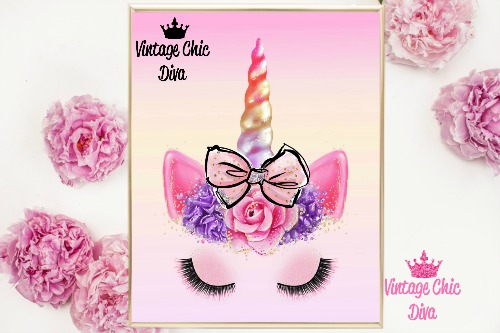 Unicorn Face Bow83 Pastel Ombre Background-