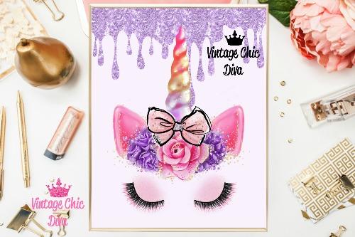 Unicorn Face Bow83 Purple Glitter Drip Background-