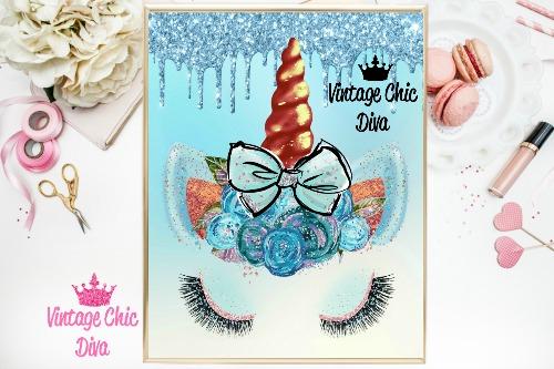 Unicorn Face Bow84 Blue Glitter Drip Background-