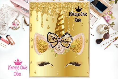 Unicorn Face Bow85 Gold Glitter Drip Background-