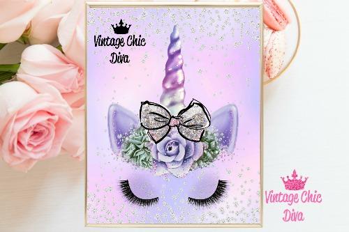 Unicorn Face Bow86 Purple Diamond Background-