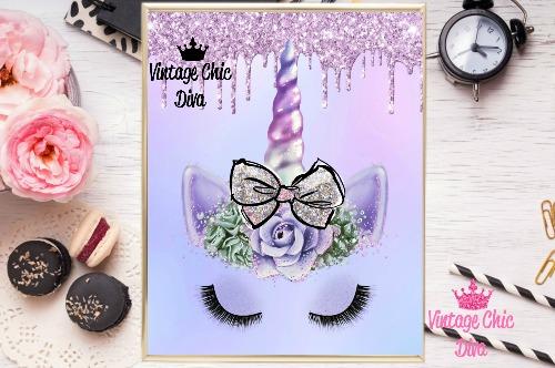 Unicorn Face Bow86 Purple Glitter Drip Background-