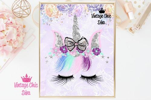Unicorn Face Bow87 Purple Flower Background-