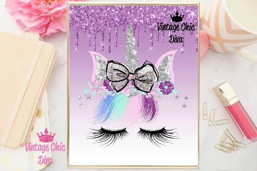 Unicorn Face Bow87 Purple Glitter Drip Background-